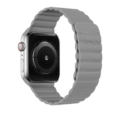 Leather Link Magnet Loop Buckle Strap for Apple Watch 42mm / 44mm - Grey
