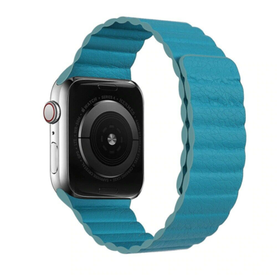 Leather Link Magnet Loop Buckle Strap for Apple Watch 42mm / 44mm - Blue