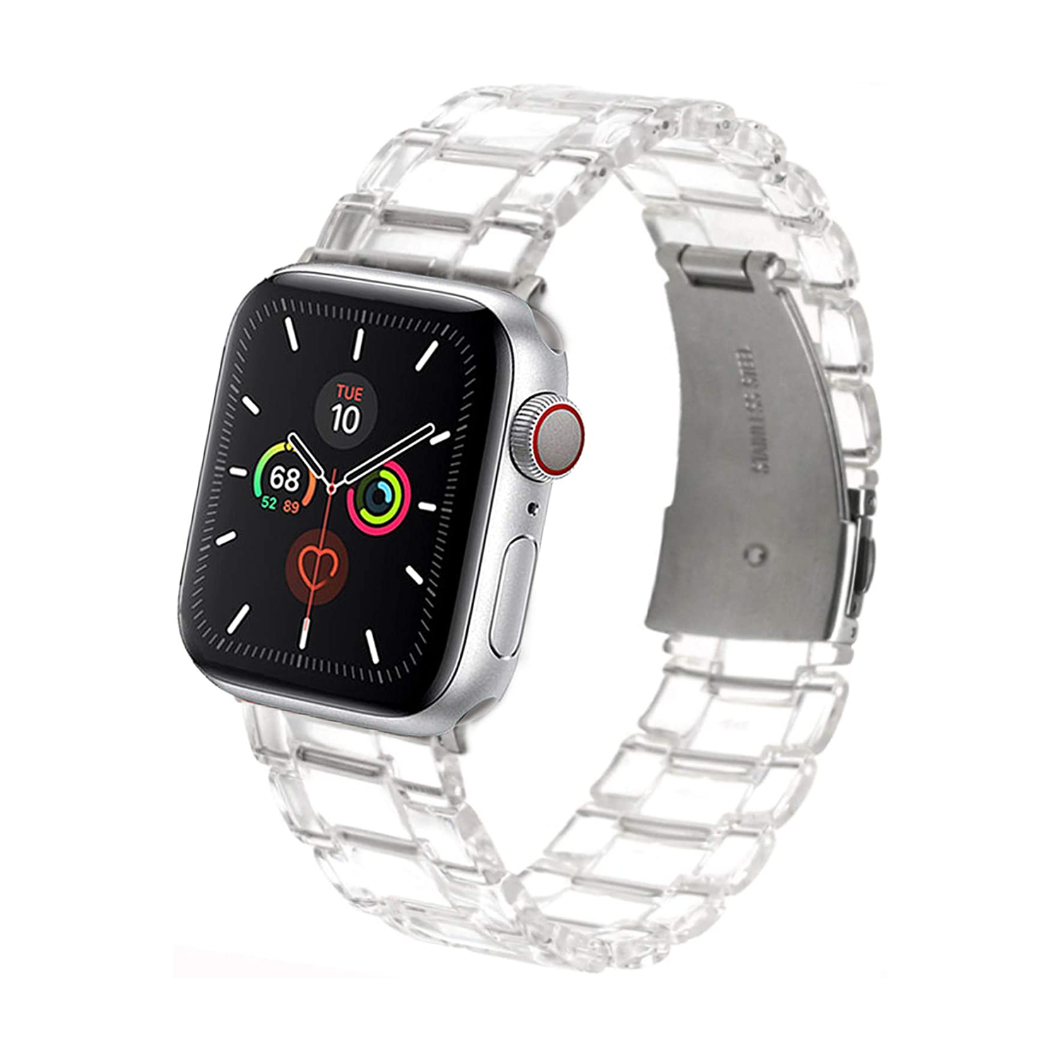Transparent Band Bracelet Stainless Steel Buckle Band Strap for Apple Watch 42mm / 44mm