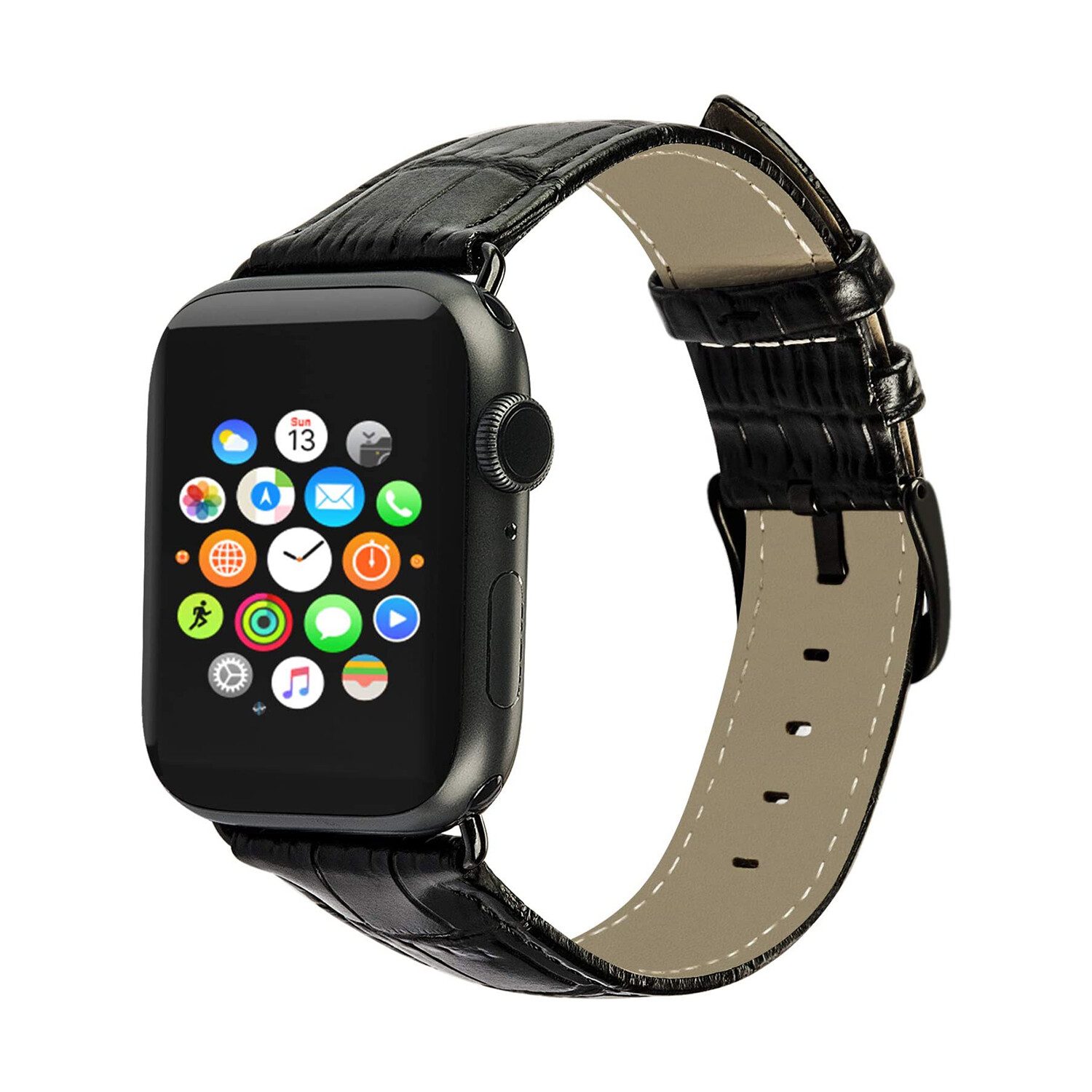 Leather Watch Strap for Apple Watch 42mm / 44mm - Black