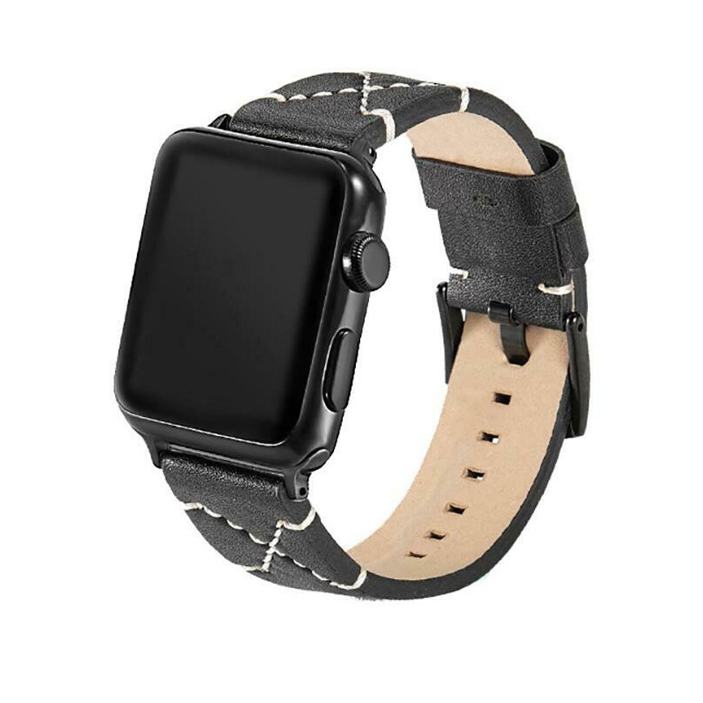 X Shape Stitching PU Leather Smart Watch Strap for Apple Watch 42mm / 44mm - Black