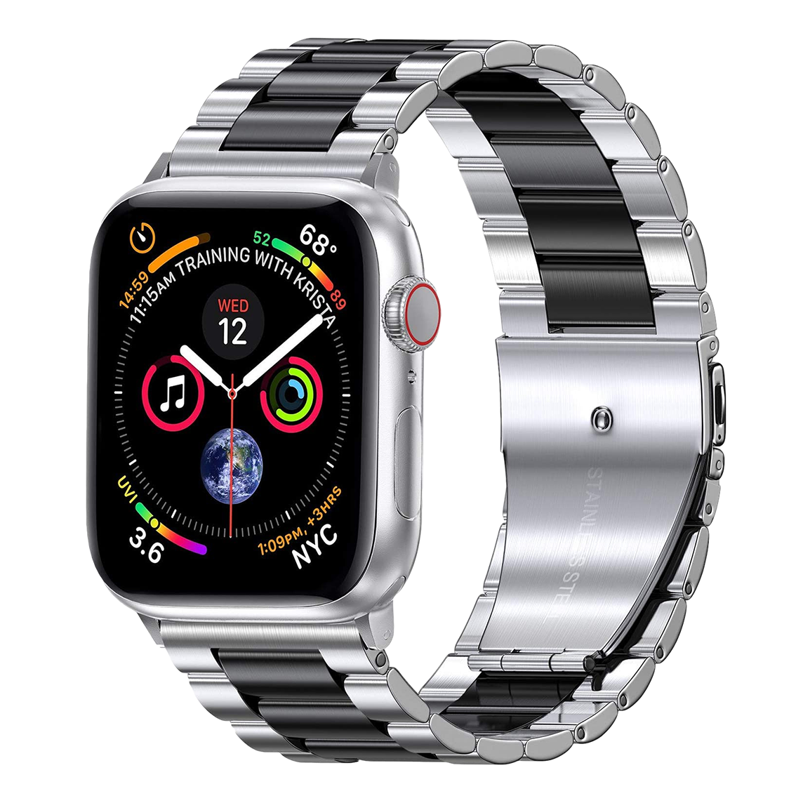 Solid Stainless Steel Band for Apple Watch 42mm / 44mm - Silver x Black