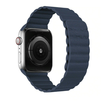 Strong Magnetic Adjustable Leather Strap with Flexible Molded Magnets for Apple Watch 42mm / 44mm - Dark Blue