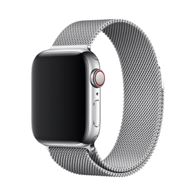 Stainless Steel Strap Band with Magnetic Closure for Apple Watch - Silver