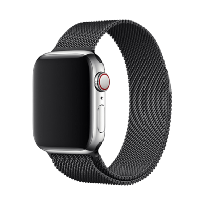 Stainless Steel Strap Band with Magnetic Closure for Apple Watch - Black