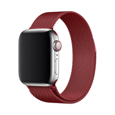 Stainless Steel Strap Band with Magnetic Closure for Apple Watch - Red
