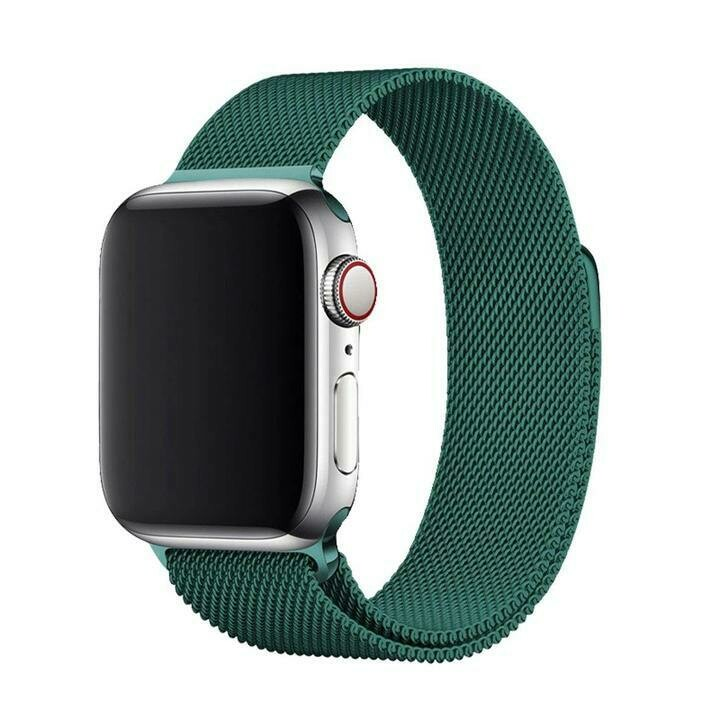 Stainless Steel Strap Band with Magnetic Closure for Apple Watch 42mm / 44mm - Dark Green