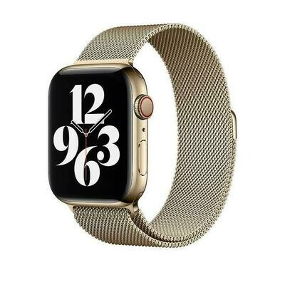 Stainless Steel Strap Band with Magnetic Closure for Apple Watch - Gold