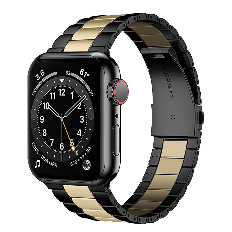 Solid Stainless Steel Band for Apple Watch 42mm / 44mm - Black x Gold