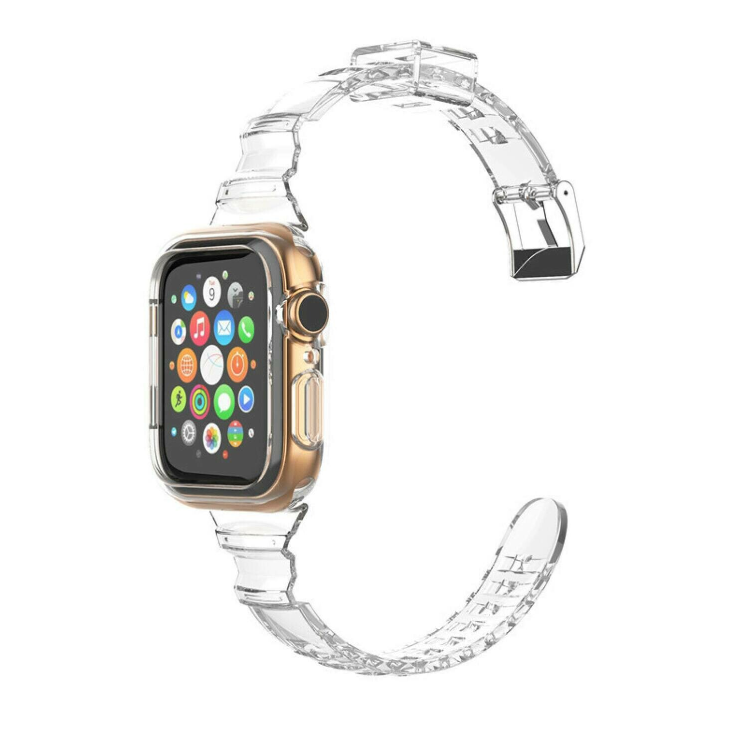 Slim Silicone Transparent Strap and Cover for Apple Watch 42mm / 44mm