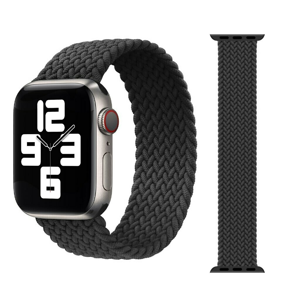 Woven Braided Solo Loop For Apple Watch 42mm / 44mm - Black