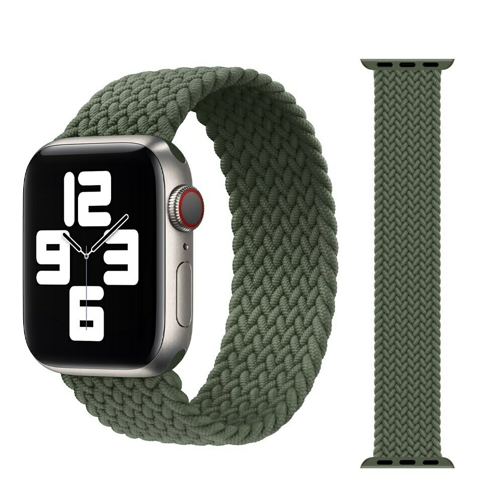 Woven Braided Solo Loop For Apple Watch 42mm / 44mm - Green