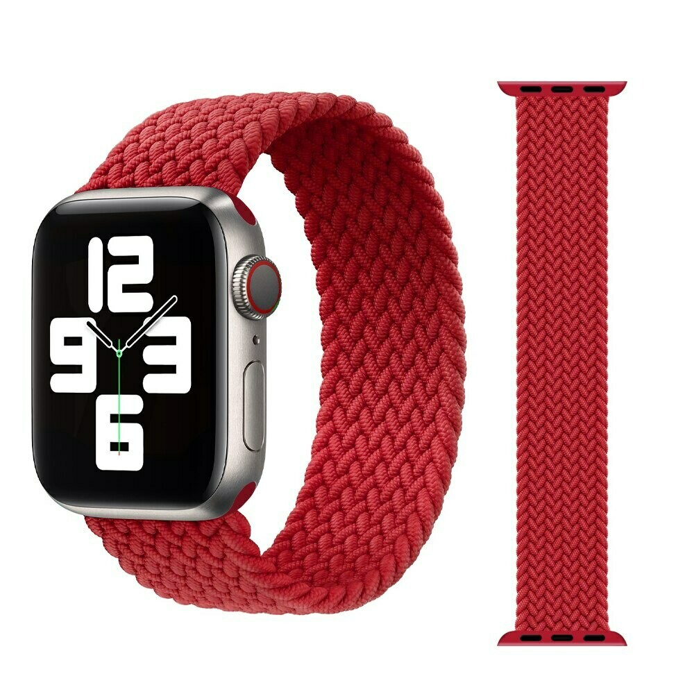 Woven Braided Solo Loop For Apple Watch 42mm / 44mm - Red