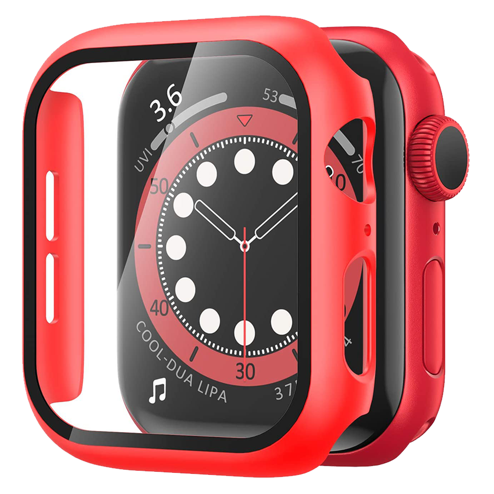 Matte Case with Tempered Glass Screen for Apple Watch 44mm - Red