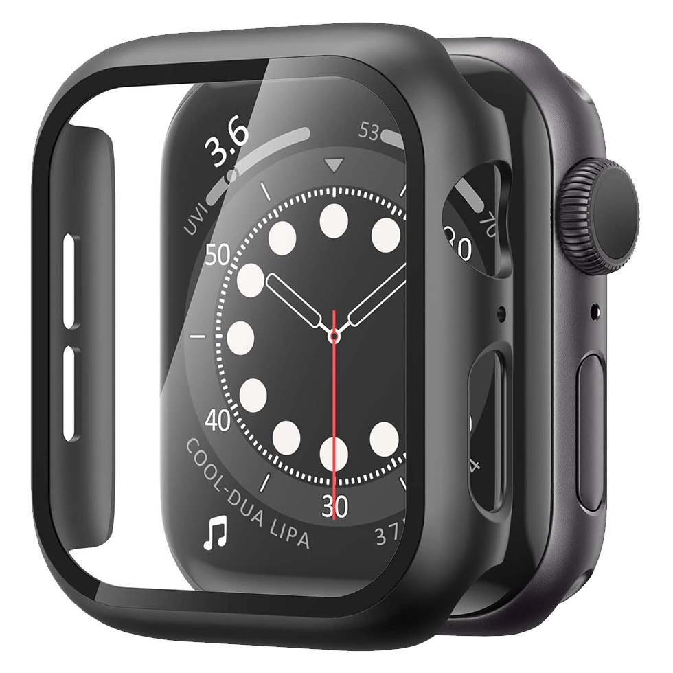 Matte Case with Tempered Glass Screen for Apple Watch 44mm - Black