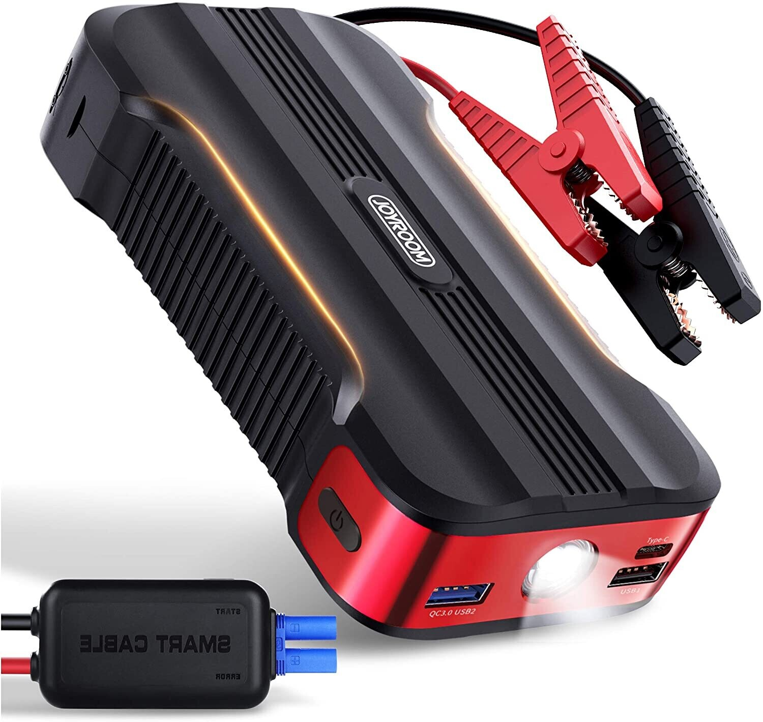Jump Starter Battery Pack - JOYROOM [8 Protect TECH] 800A & 12V & 15000mAh Car Portable Emergency Power Pack (Up to 7L Gasoline and 5.5L Diesel Engines) with Smart Jumper Cables QC 3.0 USB Output
