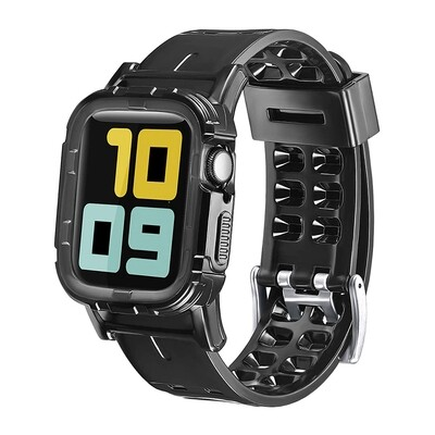 TPU Smart Band with Bumper Protective Cover for Apple Watch - Black