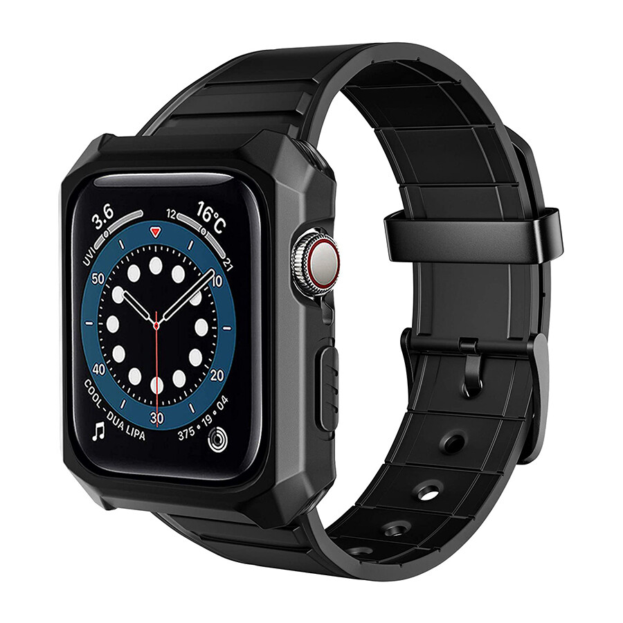 Rubber Shockproof Full Protective Case Band for Apple Watch - Black