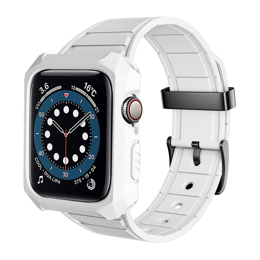 Rubber Shockproof Full Protective Case Band for Apple Watch - White