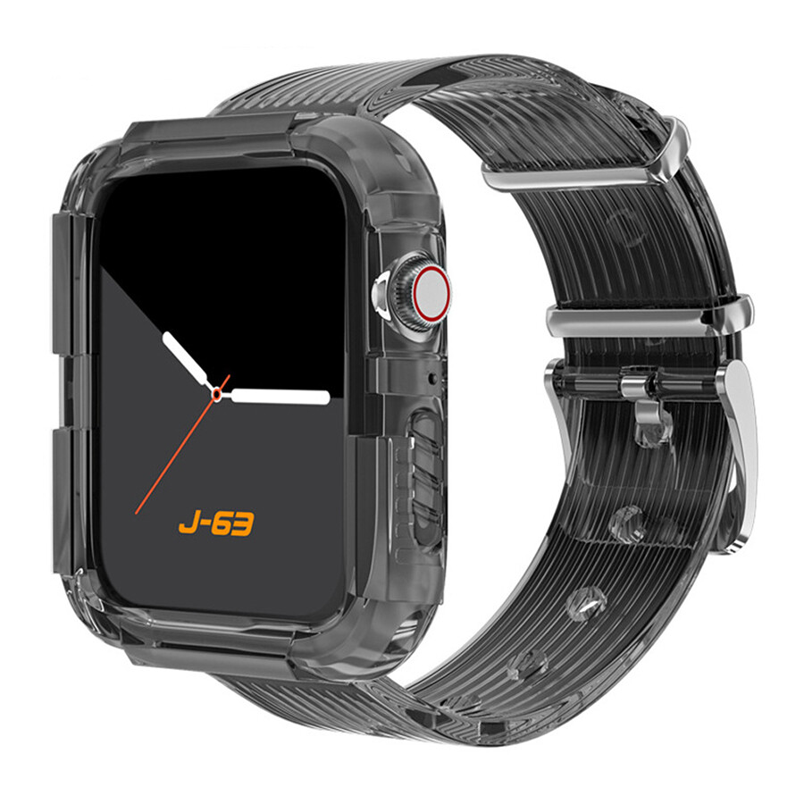 Silicone Band Strap with Case for Apple Watch - Black