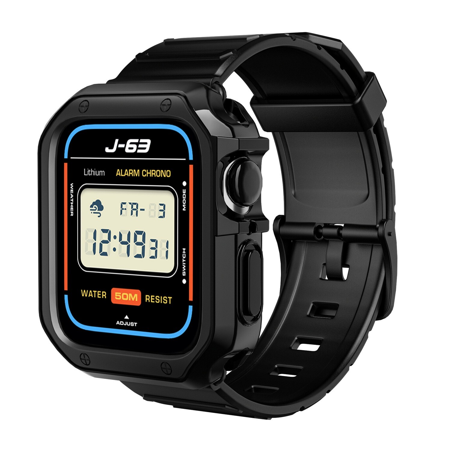 Premium TPU Protector Case with Silicone Band for Apple Watch - Black