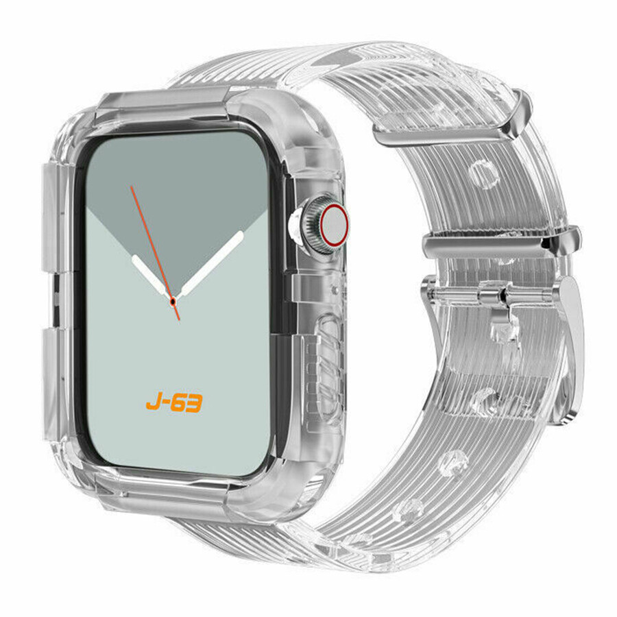 Silicone Band Strap with Case for Apple Watch - Transparent