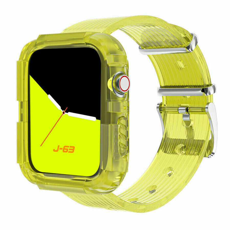 Silicone Band Strap with Case for Apple Watch - Yellow