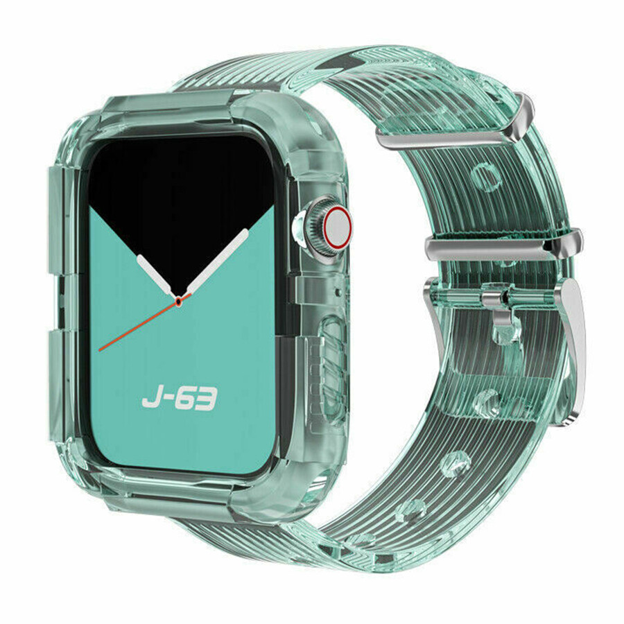 Silicone Band Strap with Case for Apple Watch - Green