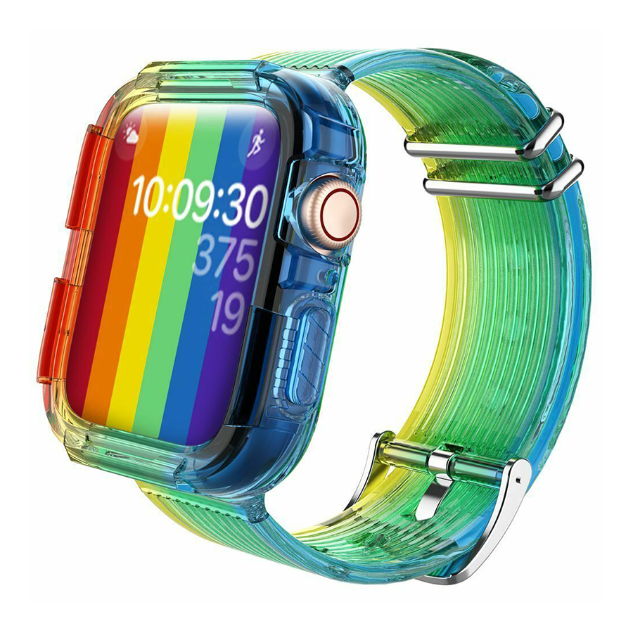 Silicone Band Strap with Case for Apple Watch - Rainbow