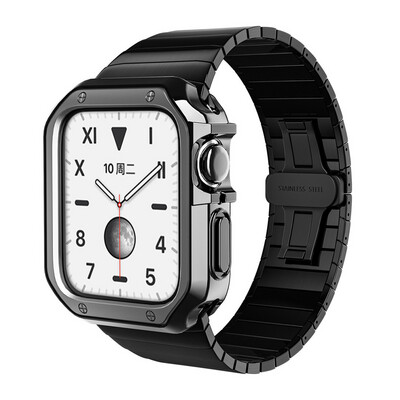 Stainless Steel Strap + TPU Anti-drop Plating Shell for Apple Watch - Black