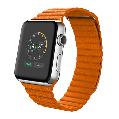 Leather Loop Band & Magnetic Strap for Apple Watch - Orange