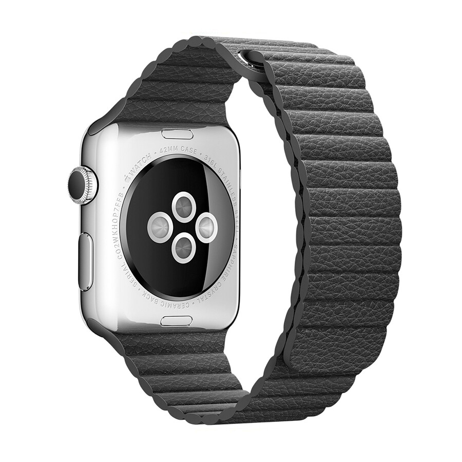 Leather Loop Band & Magnetic Strap for Apple Watch - Black
