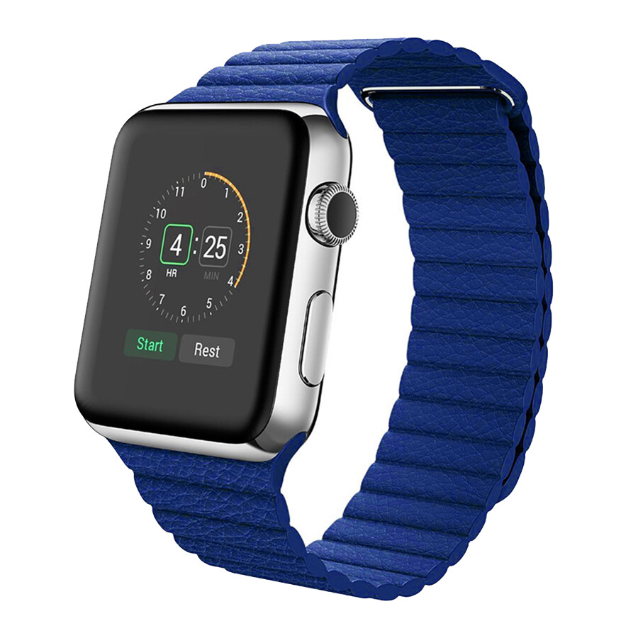 Leather Loop Band & Magnetic Strap for Apple Watch - Blue
