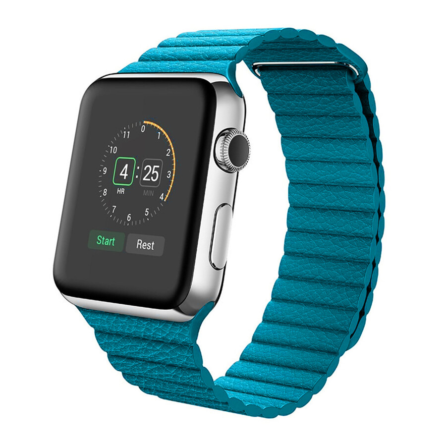 Leather Loop Band & Magnetic Strap for Apple Watch - Baby Blue