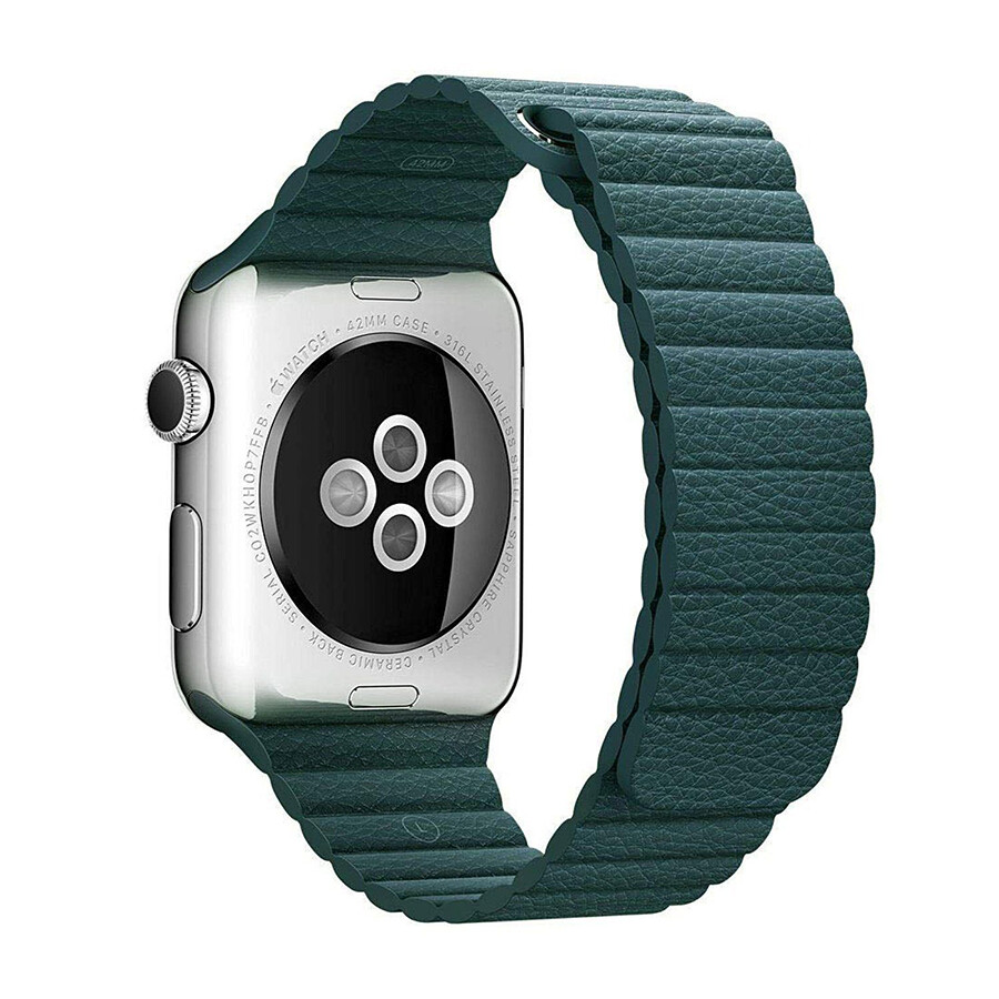 Leather Loop Band & Magnetic Strap for Apple Watch - Green