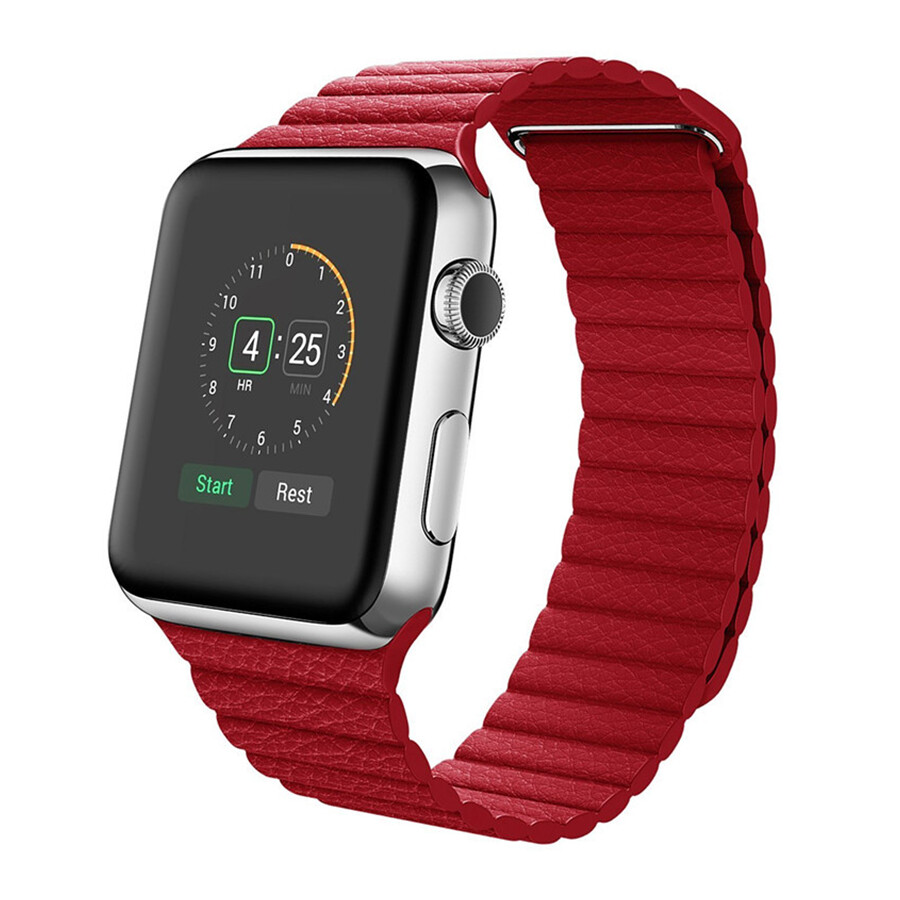 Leather Loop Band & Magnetic Strap for Apple Watch - Red