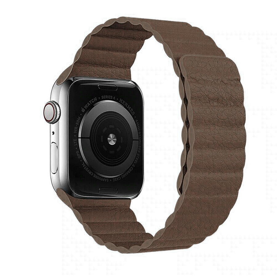 Leather Link Magnet Loop Buckle Strap for Apple Watch 42mm / 44mm - Brown