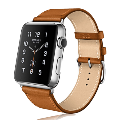 Leather Strap Band for Apple Watch - Saddle Brown
