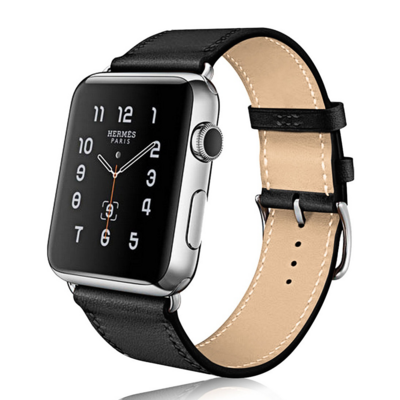 Leather Strap Band for Apple Watch - Black