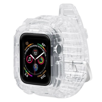 TPU Smart Band with Cover for Apple Watch - Transparent
