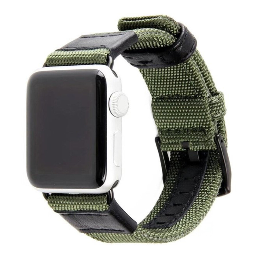 New Nylon Grain Leather Watch Band Strap For Apple Watch - Green