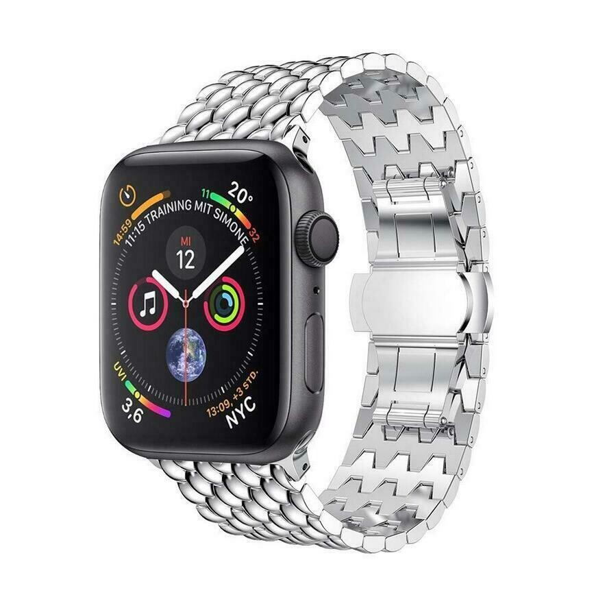 Stainless Steel Wristband Metal Buckle Band for Apple Watch - Silver