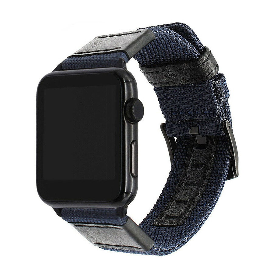 New Nylon Grain Leather Watch Band Strap For Apple Watch - Blue