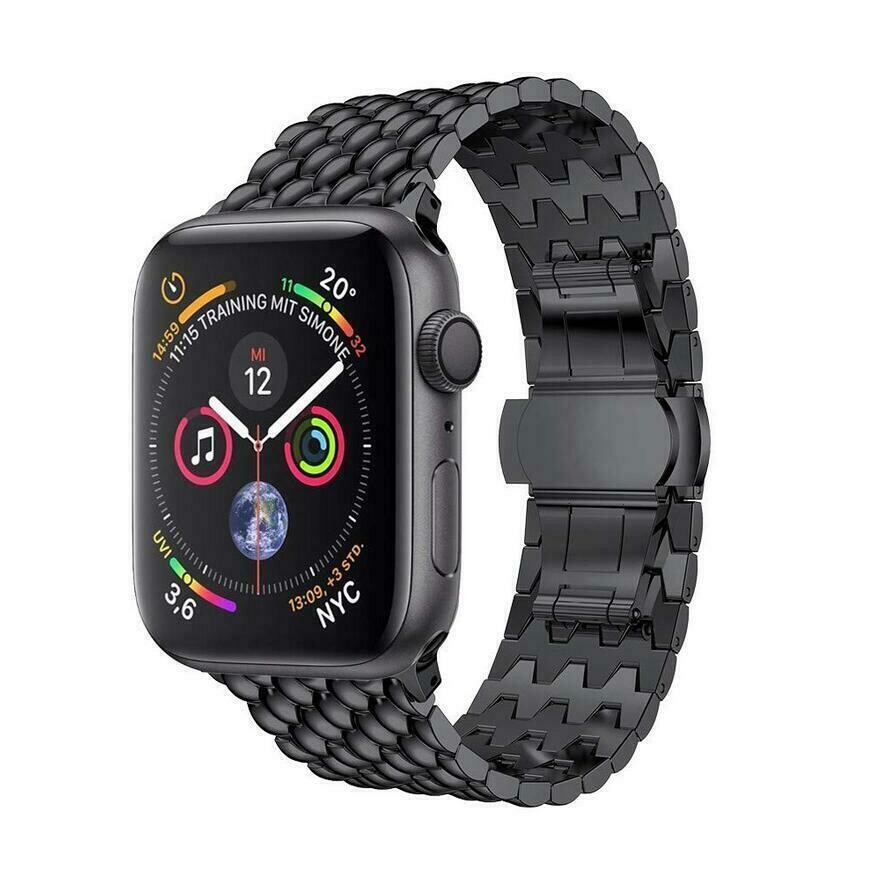 Stainless Steel Wristband Metal Buckle Band for Apple Watch - Black