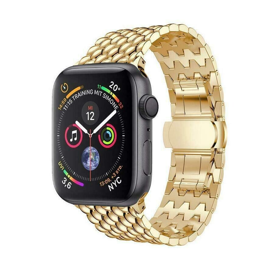 Stainless Steel Wristband Metal Buckle Band for Apple Watch - Gold