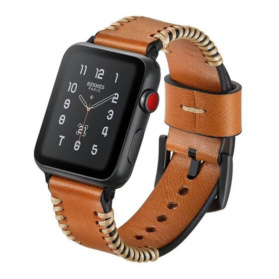 Tribal Stitch Leather Band for Apple Watch - Saddle Brown