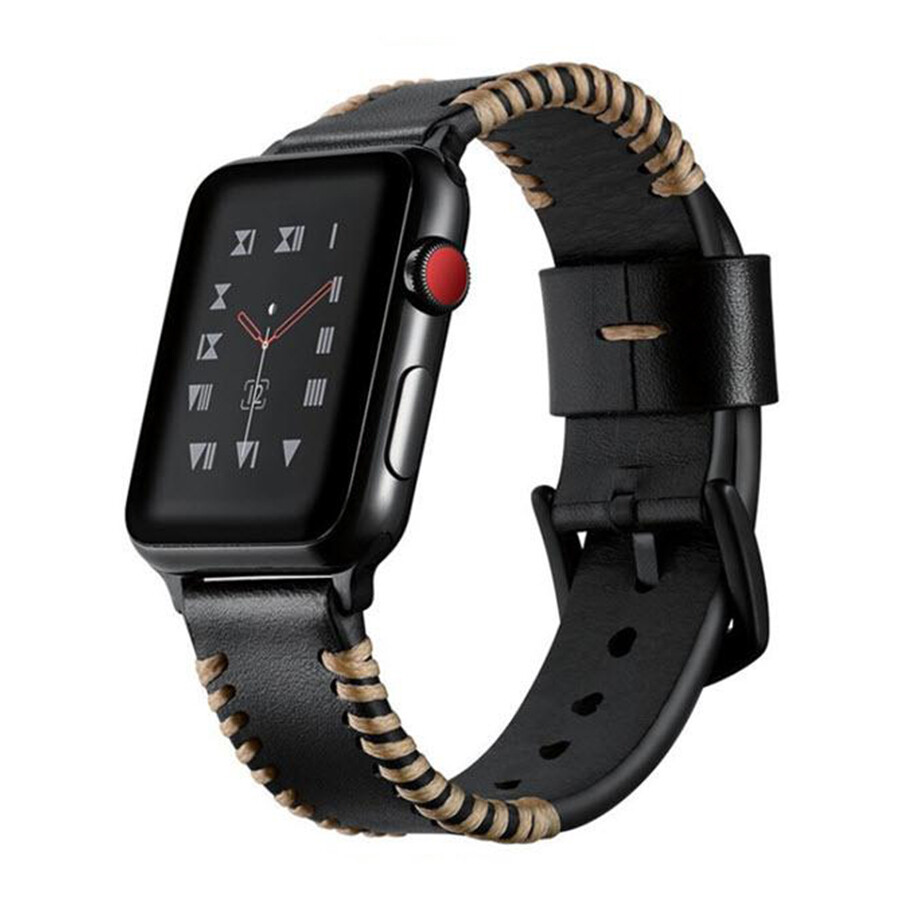 Tribal Stitch Leather Band for Apple Watch - Black