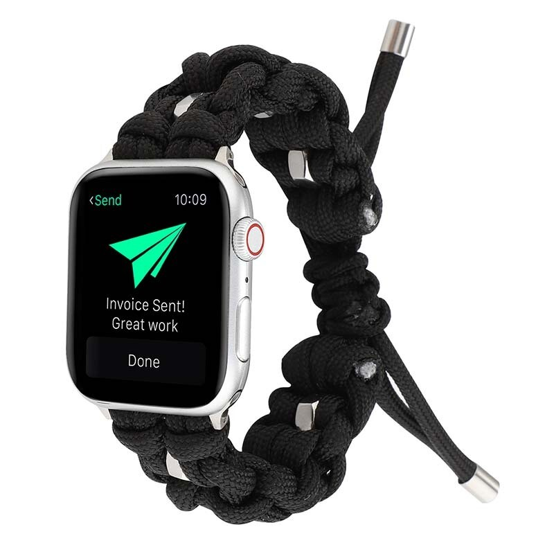 Nylon Woven Paracord Strap for Apple Watch - Black