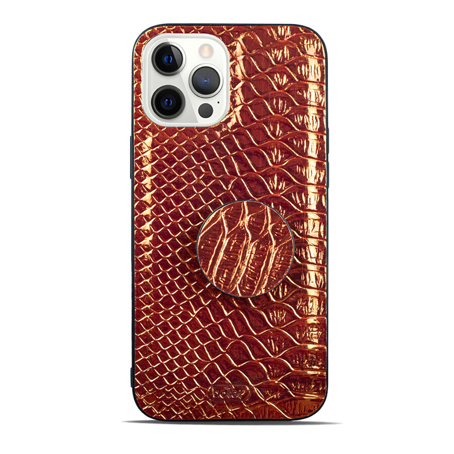 Leather Colorful Croc. Pattern Soft Case With PopSocket