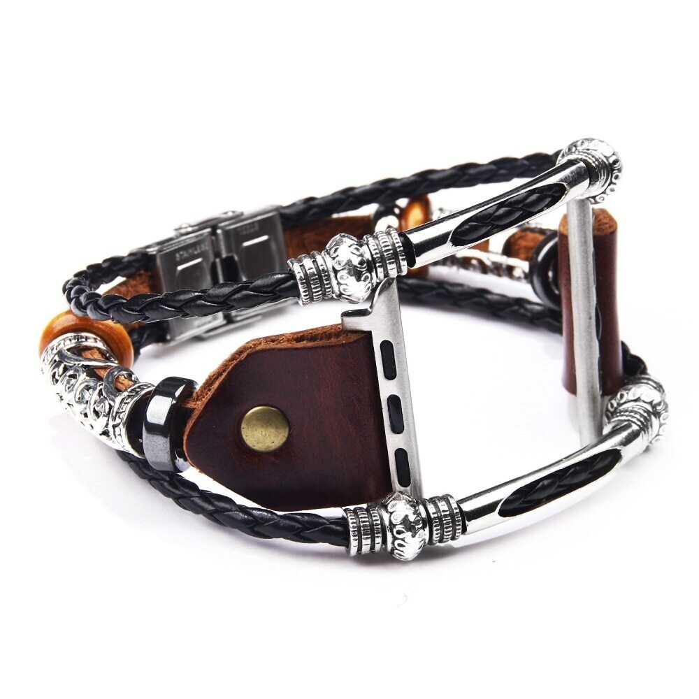 Premium Bracelet Strap Alloy Leather Wristband for Apple Watch 42mm / 44mm - Brown